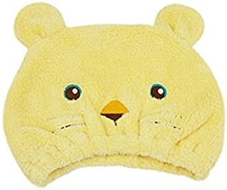 AUCH 1Pcs Adjustable Plush Cute Animal Baby Hair Drying Hat Super Absorbent Towel Adjustable Infant Shower Bath Cap for Kids Boys Girls from 1 to 12 Yrs, Yellow Tiger