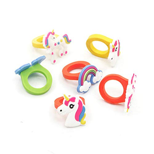 10 piezas unicornio anillo de goma unicornio dedo anillo surtidos unicornio caucho anillo decoración cumpleaños Unicorn Party favor suministros novedad juguete escuela premios regalos niños
