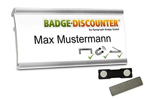 Aluminium Namensschilder MSG silber magnetisch 2 Stück zum Anstecken an Kleidung Namensschild mit starkem Magnet, Clip, Nadel, Schild zum Bedrucken, Magnetnamensschild, Badge 72x32mm