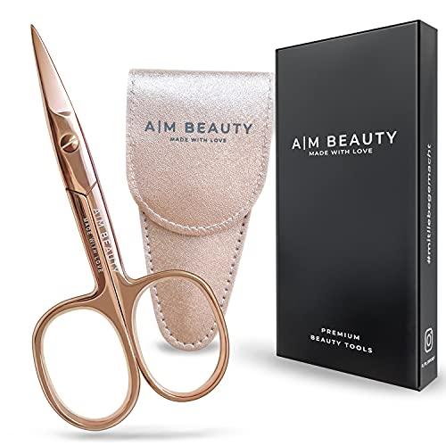 AM BEAUTY Nagelschere Premium Edition inkl. Etui - Rose Gold - Bronze - Linkshänder geeignet - Gerade