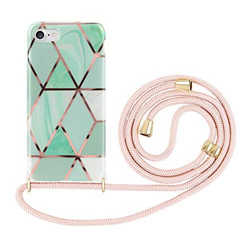 Imikoko Handykette Hülle für iPhone 7/8/SE 2020 Marmor Glitzer Necklace(abnehmbar) Hülle mit Kordel zum Umhängen Silikon Handy Schutzhülle mit Band - Schwarze Schnur mit Hülle zum umhängen (Grün)