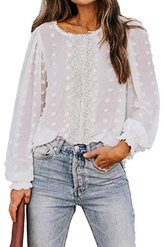 Maavoki Damen Chiffon Bluse Langarm Shirts, Elegant Polka Dot Rundhals Oberteile, Sommer Loose Casual Long Ärmel Pom Pom Tops Shirt (Weiß, XXL)