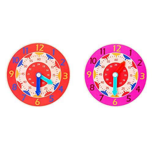Toyvian 2 stücke kinder zeit Lernuhr Holz pädagogische uhr spielzeug frühe entwicklung spielzeug für kleinkind (zufällige farbe)