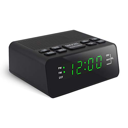 """BOCTOP Digital Alarm Clock Radio with AM/FM, 12/24H, DST, Sleep Timer, Preset and Dimmer for Bedroom, 0.6"""" LED Numbers (0.6"""" Green Digital)"""