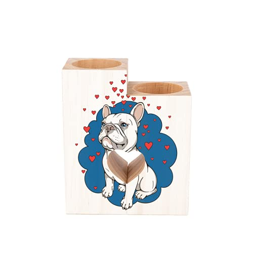 Wooden Candle Holder Cartoon French Bulldog Love Heart Heart Shaped Couple Wood Tealight Candle Holder, Table Decorative Candle Gift for Birthday Anniversary Day Wedding Home Decor