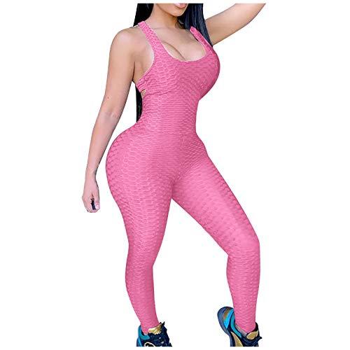 BaoDan Combinaison Moulante Sport Jogging Push Up Slim Rose Combinaison Pantalon de Yoga Gym Fit Sexy Combinaison Legging Anti Cellulite Running Femme Taille Haute Siamois Tune Sexy Bodysuit