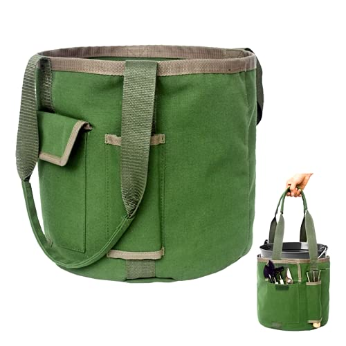 Gardening Tools Bucket Bag with Pockets - Garden Organizer Tote for Women, Great Sturdy Canvas,...