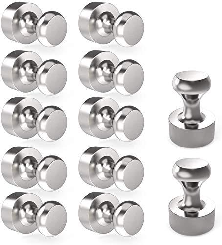 Manfore Neodym Magnete, Extrem Stark Metall Magneten 12 Stück 12 x 16mm Edelstahl Kegelmagnete Kühlschrank Magnete für Magnettafel, Whiteboard, Magnetische Reißzwecke- mit Aufbewahrungs Box