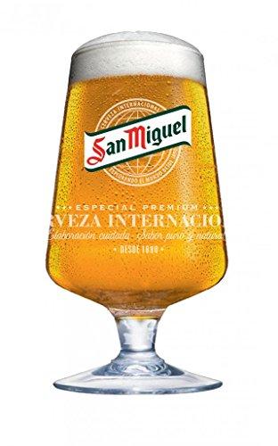 Unbekannt San Miguel Biergläser, 568 ml, 4 Stück, 68cl San Miguel Biergläser mit Logo und Stiel