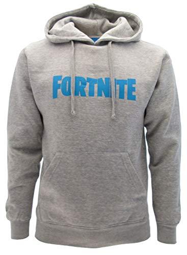 Original Fortnite Sweatshirt mit blauem Logo und Kapuze für Erwachsene und Jungen, offizielles Produkt, Herren, Kapuzenpullover, grau, XL