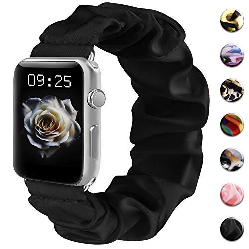 Wanme Correa Compatible con Apple Watch 38mm 40mm 42mm 44mm, Pulsera Suave Scrunchie Elástica para iWatch Series 6 5 4 3 2 1 SE (38mm/40mm S/M, Negro)