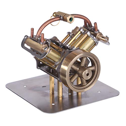 XSHION Mini V4 Steam Engine Miniature Steam Engine Model Without Boiler,Engine Model for Ship Models, Car Models, Small Generators