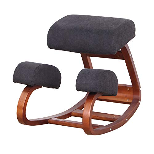 WV LeisureMaster Ergonomic Kneeling Chair, Improve Your Sitting Posture, Thick Cushion, Soft and Comfortable Flannel Soft Bag (Brown)