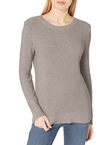Daily Ritual Morbido Cotone Nastro Filato Beachy Girocollo Maglione Pullover-Sweaters, Grigio Chiaro, L