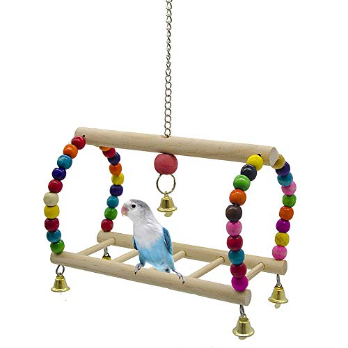 KunLS Wellensittich Spielzeug Vogelkäfig Zubehör Vogelspielzeug Wellensittich Zubehör Papageienspielzeug Vogel Zubehör Vogel-Holzleiter Papagei Der Reibendes Spielzeug Wellensittich Schaukel
