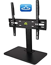 FORGING MOUNT Wooden Base Swivel TV Stand-Universal Tabletop TV Base for 32 to 55 Inch OLED LED LCD TVs-Height Adjustable TV Mount Stand with Wire Management, Holds up to 99lbs, VESA 400x400mm(Max)