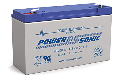 Powersonic PS-6100F1 - 6 Volt/12 Amp Hour Sealed Lead Acid Battery with 0.187 Fast-on Connector