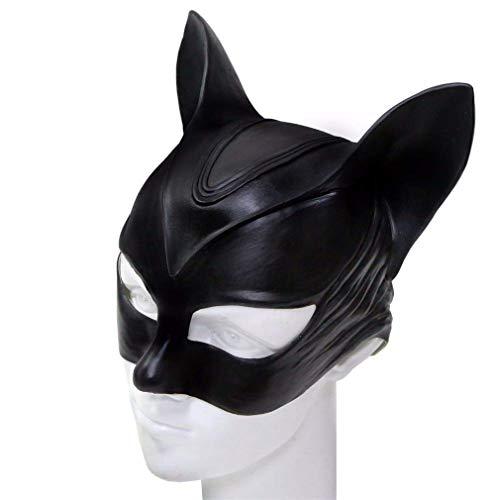 TAOUN Máscara de Catwoman, máscara de Cabeza de látex de Gato Negro Sexy de Halloween Máscara Divertida de Disfraz de Cosplay, Talla única