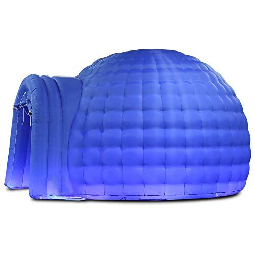SAYOK Aufblasbares Iglu-Zelt mit Luftgebläse (4 m Durchmesser, blau), aufblasbare Kuppel für Party, Hochzeit, Business, Privatgebrauch