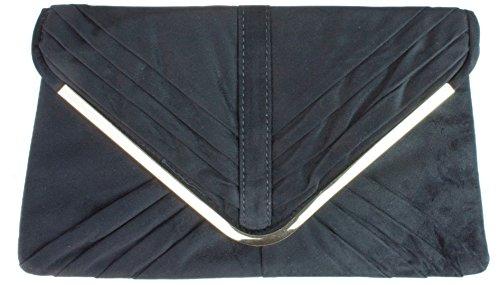 Girly Handbags Elektrische Königsblau FauxveloursKunstleder Clutch Bag Unterarmtasche Plissee FauxveloursKunstledertte Umschlag Schlicht Ultramarin - Schwarz