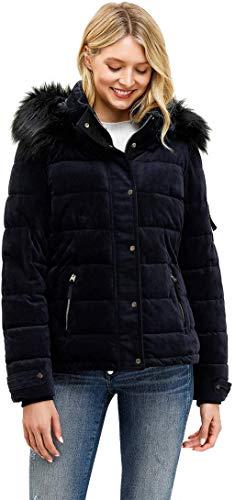 Royal Matrix Women's Hooded Puffer Coat Short Quilted Jacket Full Zip Warm Winter Thickened Coat, Regular & Petite Size(Sapphire, 0)