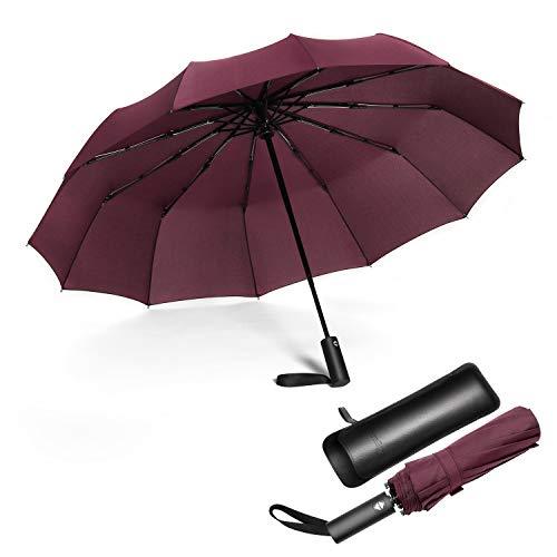 Jiguoor Paraguas Plegable Automático Impermeable,Prueba de Viento y Estable,Paraguas de Tela de Secado,Compacto para Viaje para Hombres y Mujeres
