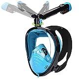 LEMEGO Maschera Snorkeling Maschera Subacquea con Visuale Panoramica 180° Design Pieno Facciale 360° ruotabile Snorkel e Compatibile con Videocamere Sportive Maschera per Immersioni per Adulti
