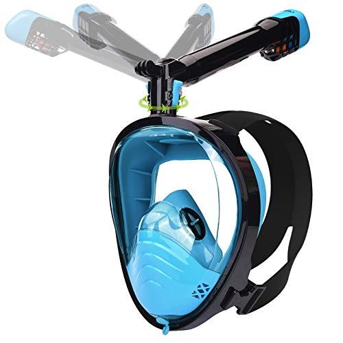LEMEGO Tauchmaske Schnorchelmaske Vollmaske mit Neueste Atemsystems Design Tauchermaske Vollgesichtsmaske 360° Schnorchel 180° Panoramasicht Anti Fog Kamerahaltung Taucherbrille für Erwachsene (S/M)