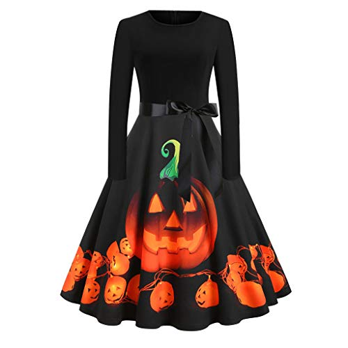 Calvinbi Damen Kleider Schwarz Vintage Elegante Kleid Damenkleider mit Kürbis Knielang Langarm 3/4 Arm Abend Prom Swing Dress Soft und Stretch fur Halloween Party Ball Karneval Kostüm