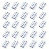 NACTECH 25 Pezzi Manicotti in Alluminio per Cavo 6mm Morsetti a Manicotto in Alluminio Clip in Alluminio per Maniche per Corda in Acciaio, Fune, Filo Metallico e Cavo(Argento)