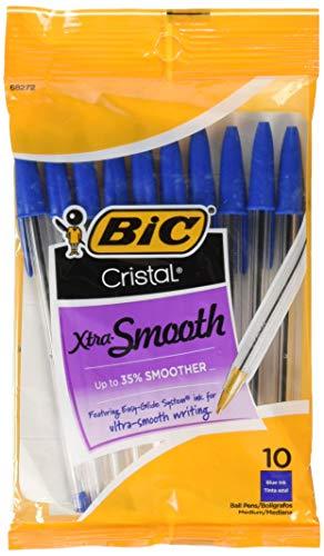 BIC 751766084321 Cristal Xtra Smooth Pens Blue Medium Point. 10-Pack