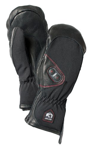 Hestra Heated Gloves: Waterproof Power Heater Cold Weather Ski Gloves, Black, 8