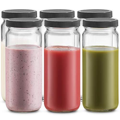 Travel Glass Drinking Bottle Mason Jar 16 Ounce [6-Pack] Plastic Airtight Lids, Reusable Glass Water Bottle for Juicing, Smoothies, Kombucha, Tea, Milk Bottles, Homemade Beverages Bottle,