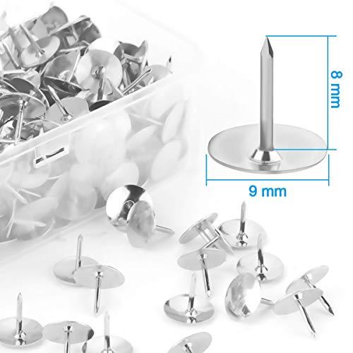 Yalis Thumb Tacks 500-count, 3/8-inch Steel Roundness Push Pins Office Tacks for Corkboard (Silver) Photo #3