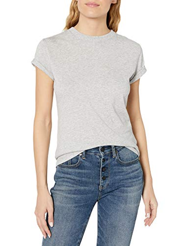 True Religion Damen Shine Buddha Crew CORE T-Shirt, Grau (Heather Grey 1501), 38 (Herstellergröße: M)