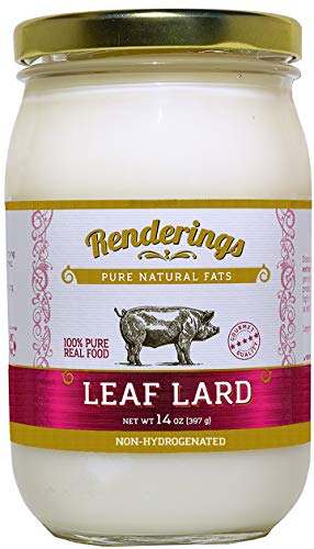 Rendering's Gold Label Leaf Lard - Non-Hydrogenated - Pasture Raised - for Cooking, Baking and Frying - 14 oz jar