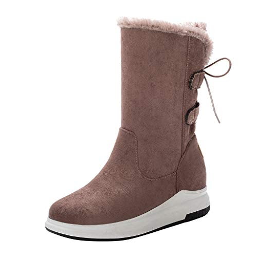 Boots for Women Mid-Calf Booties Lace-Up Warm Platform-Bottom Casual Snowboot Waterproof Boot Ladies Shoes Sport Footwear