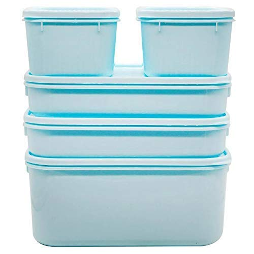 Saliya Onicron 5 pcs Airtight Food Grade Plastic Container Set for Kitchen Refrigrator and Office Storage of Grocery/Dry Fruits/Snacks (2000ml*1/900 ml*2/400ml*2) Multi Colour