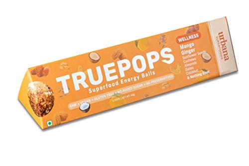 Urbana Superfoods Truepops Superfood Energy Balls – Natural, Vegan, Non-Dairy, Gluten-Free, Keto, Weight-Loss Friendly, Mango Ginger 4 Packs, 240g (4 x 60g)
