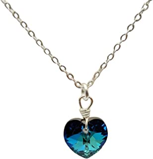 Cuore dell'oceano Amore Strass Pendente Catena in Argento Sterling 925 Collane
