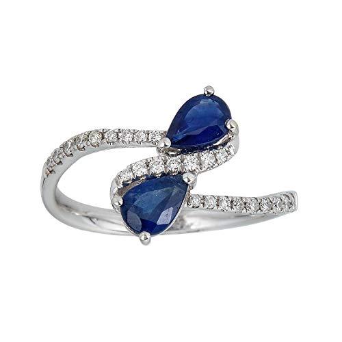 Gin & Grace 14K oro blanco 2 Corte de pera genuino azul zafiro y diamante natural (I1, I2) Banda Estilo Proponer Promise Ring para la Mujer