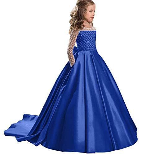 Kobay Kinder Mädchen Smoking Prinzessin SchöNheit Kleid Kleid Party Geburtstag Hochzeit Langes Kleid Kind Raute Tube Top Prinzessin Schwanz Kleid Rock Kleid (5T-15T) (130,8-9 Jahre, Blau)