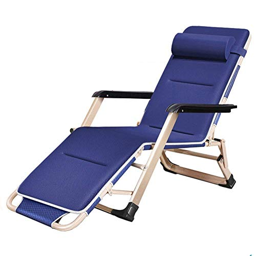 AFDK Cero Gravedad de gran tamaño Silla con el amortiguador, al aire libre Tumbona reclinable para Heavy Personas, Soporte 440lbs (azul marino)