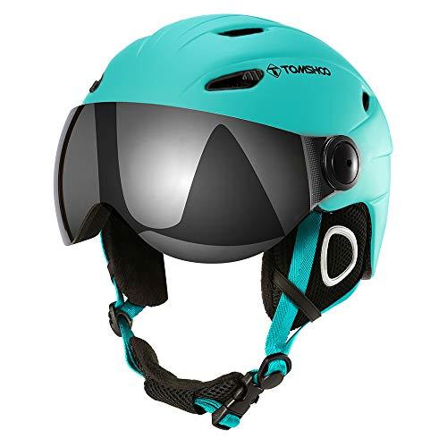 Casco de esquí, Casco de Seguridad Certificado Esquí Profesional Snowboard Casco de Deportes de Nieve Orejera Desmontable Gafas integradas Sin Gafas (Verde, L)