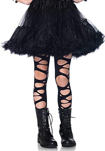 shoperama Schwarze zerschlissene Strumpfhose für Kinder von Leg Avenue Löcher Schlitze Kostüm-Zubehör Halloween Mädchen, Größe:L - 7 bis 10 Jahre