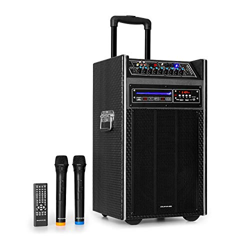 auna Pro DisGo Box DVD - Equipo PA móvil, Reproductor de DVD, Potencia máxima de 300 W, Compatible karaokes o Aplicaciones DJ, Subwoofer de 2 x 10 (25,5 cm), XMR Bass Technology, Negro