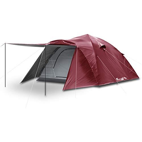 FIELDOOR ワンタッチテント300 【ボルドー】 大型 4~6人用 ドームテント キャンプテント 紐を引くだけの簡単設営 UVカット 耐水 シルバーコーティング キャノピー 簡単