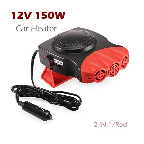 Portable Car Defroster Defogger 12V 150W Car Heater with Cooling&Heating Function, 2-in-1 Windshield Heater Plugs into Cigarette Lighter,Suitable for General Types of Cars,3-Outlet Fans Red