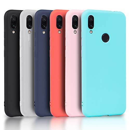 Wanxideng - 6X Funda Xiaomi Redmi Note 7, Carcasa en Silicona - [ Negro + Blanco Translúcido + Rojo+ Rosado+ Menta Verde + Azul Claro ]