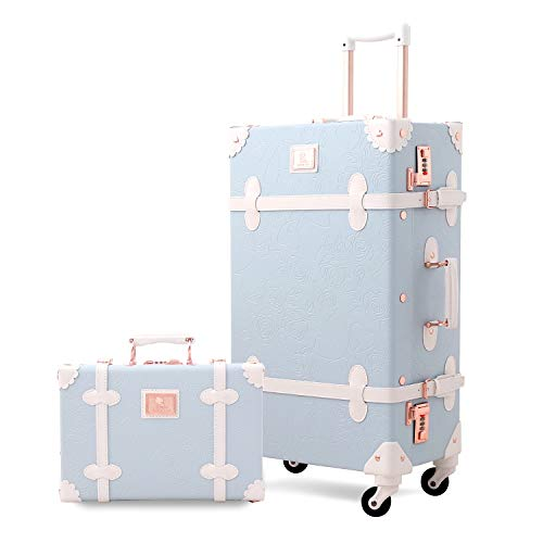 UNIWALKER Retro Luggage Set 24 inch Vintage Spinner Trolley Suitcase with 12 inch Train Case for Women (Embossed Blue)